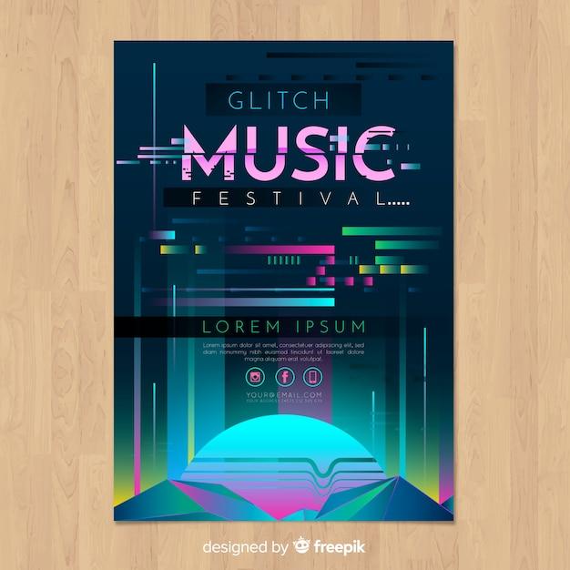 Szablon Plakat Festiwalu Glitch Muzyka Darmowych Wektorów