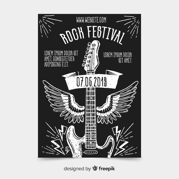 Szablon plakat festiwalu muzyki rockowej Darmowych Wektorów