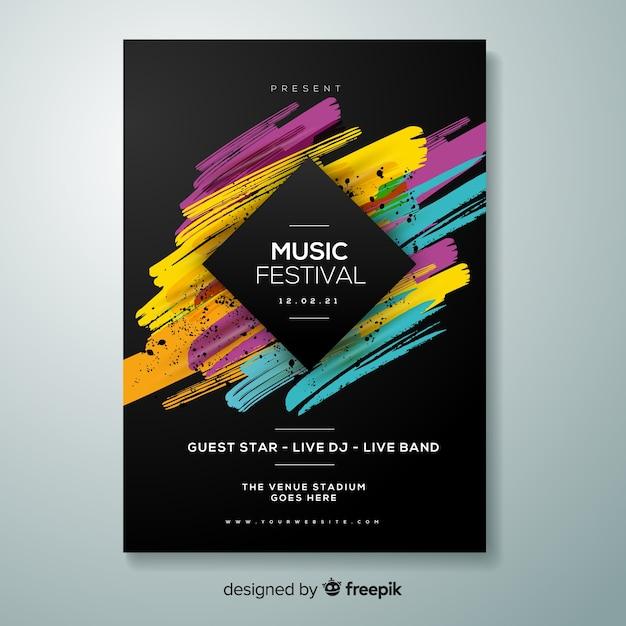 Szablon plakat festiwalu muzyki Darmowych Wektorów
