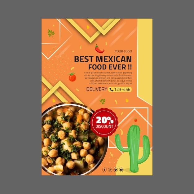 Szablon Plakat Meksykańskie Jedzenie Darmowych Wektorów