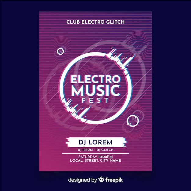 Szablon plakat muzyki elektronicznej z efektem usterki Darmowych Wektorów