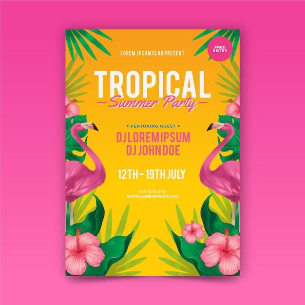 Szablon Plakat Partii Tropikalnej Darmowych Wektorów