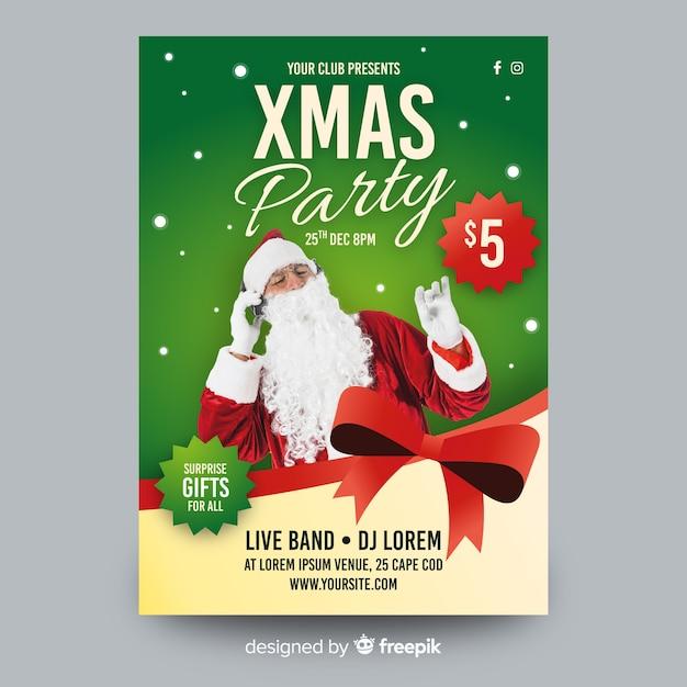 Szablon plakat przyjęcie świąteczne ze zdjęciem Darmowych Wektorów