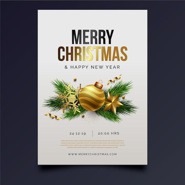 Szablon plakat realistyczne przyjęcie świąteczne Darmowych Wektorów