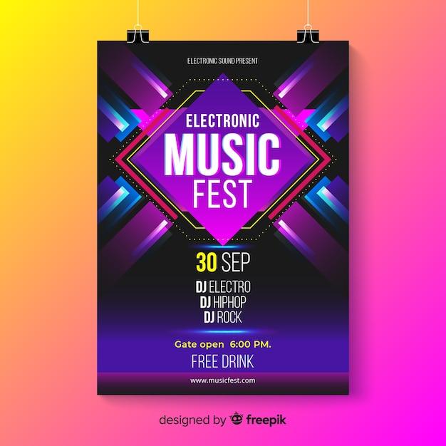 Szablon plakat streszczenie muzyki elektronicznej Darmowych Wektorów