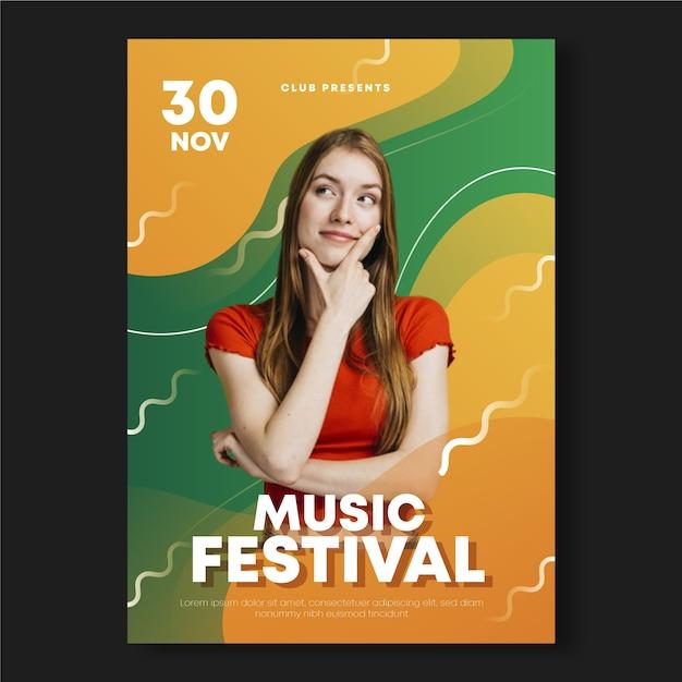 Szablon Plakat Streszczenie Muzyki Darmowych Wektorów