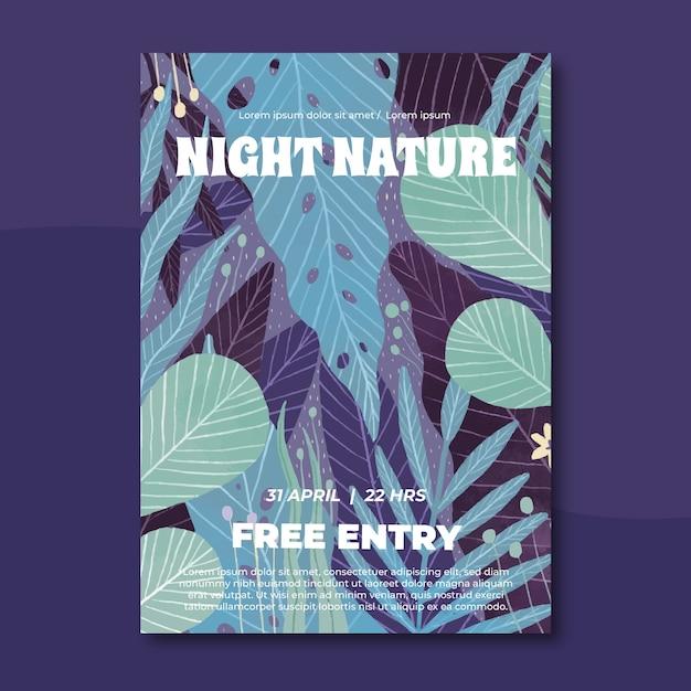 Szablon Plakat Tropikalny Natura Z Liśćmi Darmowych Wektorów
