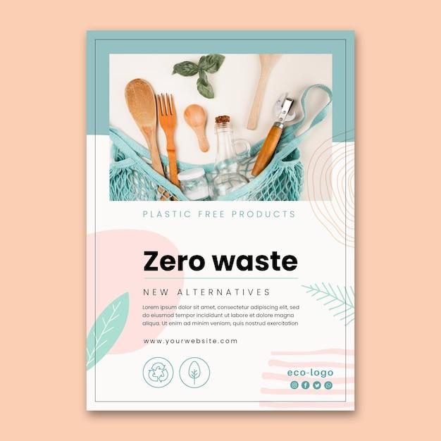 Szablon Plakatu Bez Odpadów Z Tworzyw Sztucznych Darmowych Wektorów