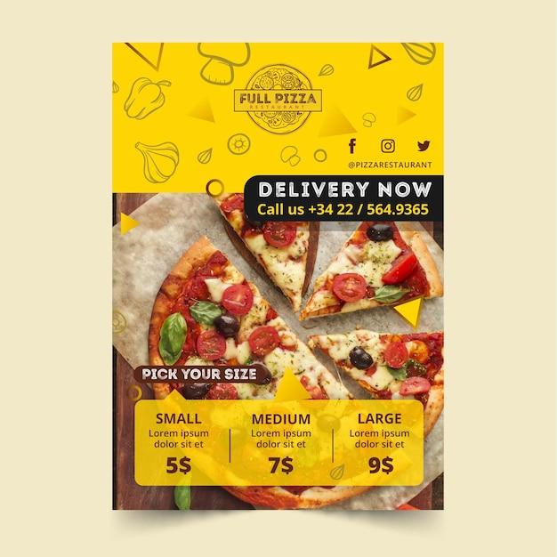Szablon Plakatu Dla Restauracji Pizzy Darmowych Wektorów