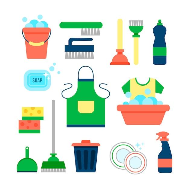 Szablon plakatu do czyszczenia domów z różnymi przedmiotami do czyszczenia Darmowych Wektorów