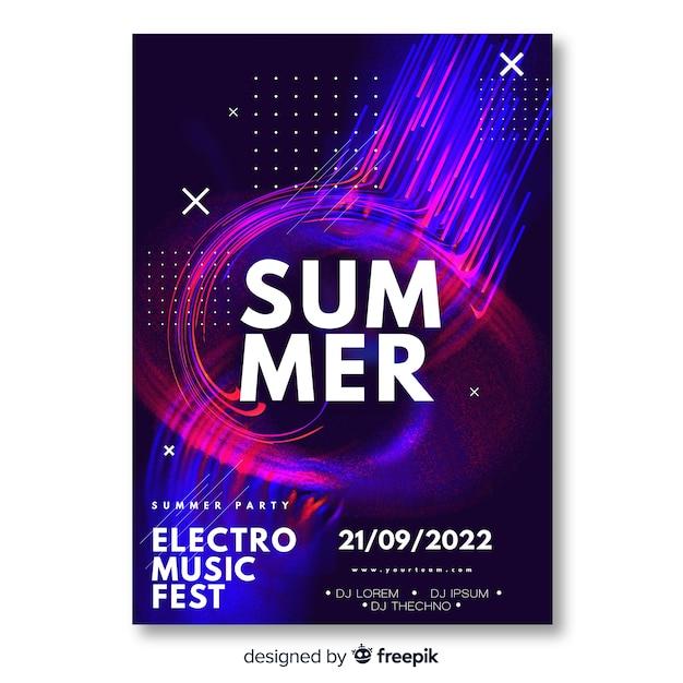 Szablon plakatu festiwalu muzyki elektronicznej Darmowych Wektorów