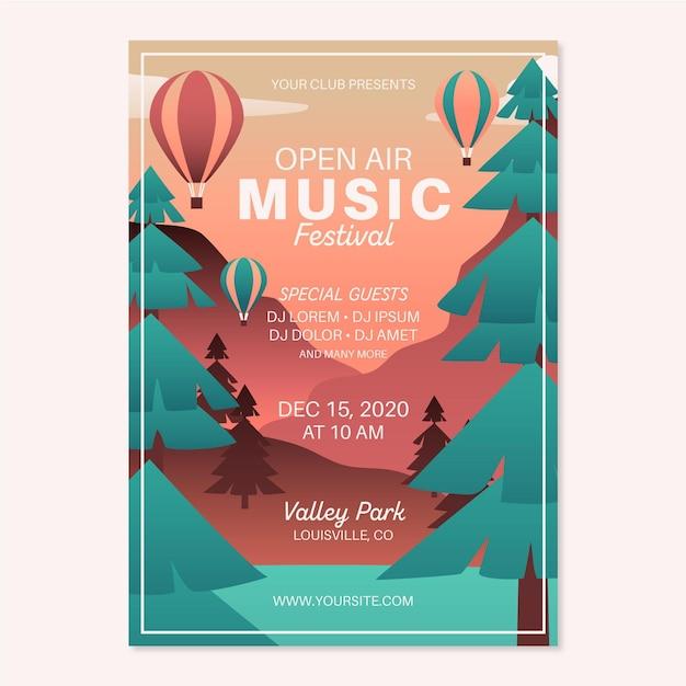 Szablon Plakatu Festiwalu Muzyki Na świeżym Powietrzu Darmowych Wektorów