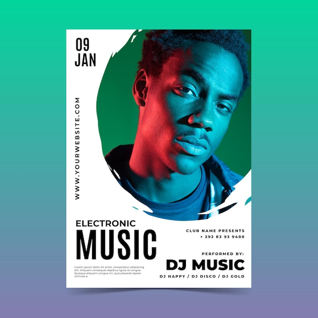 Szablon Plakatu Festiwalu Muzyki Na żywo Darmowych Wektorów