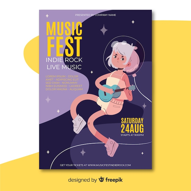 Szablon Plakatu Festiwalu Muzyki Płaskiej Darmowych Wektorów