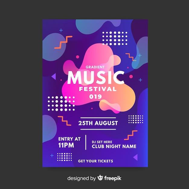 Szablon plakatu festiwalu muzyki z efektem płynnym Darmowych Wektorów
