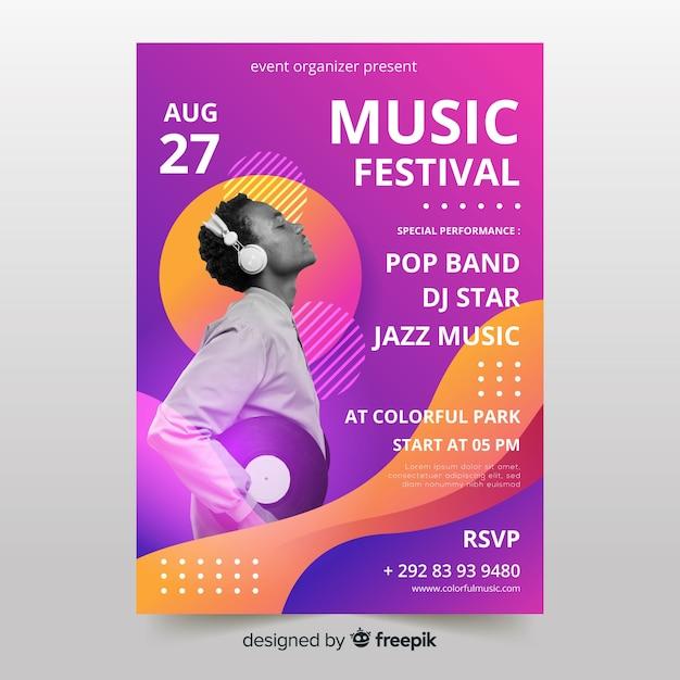 Szablon plakatu festiwalu muzyki ze zdjęciem Darmowych Wektorów