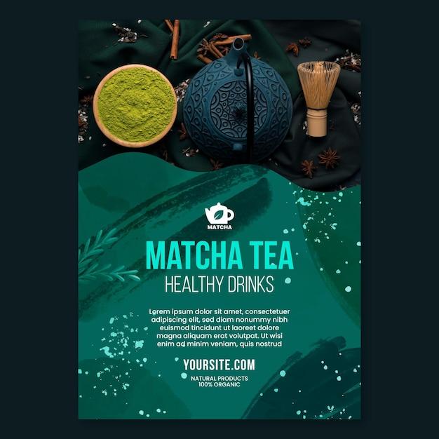 Szablon Plakatu Herbaty Matcha Darmowych Wektorów