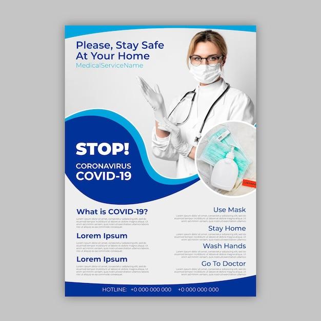 Szablon Plakatu Informacyjnego Koronawirusa Darmowych Wektorów