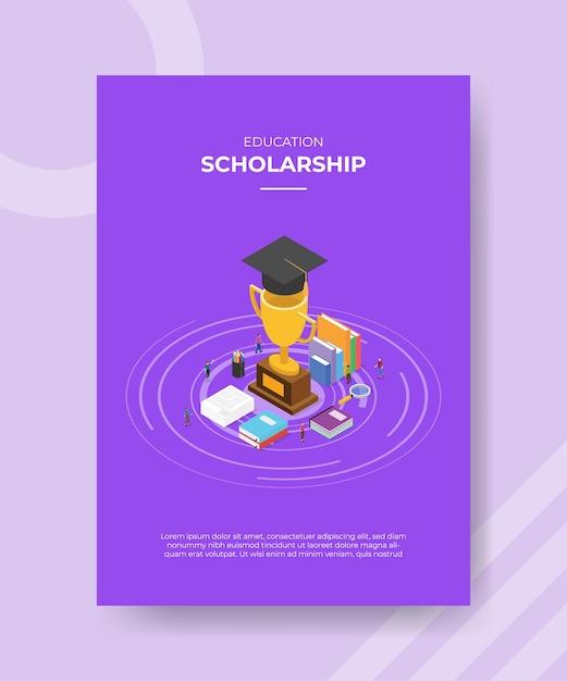 Szablon Plakatu Koncepcja Stypendium Z Ilustracji Wektorowych W Stylu Izometrycznym Premium Wektorów