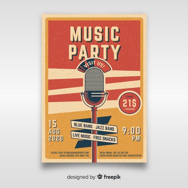 Szablon Plakatu Muzyki Retro Premium Wektorów