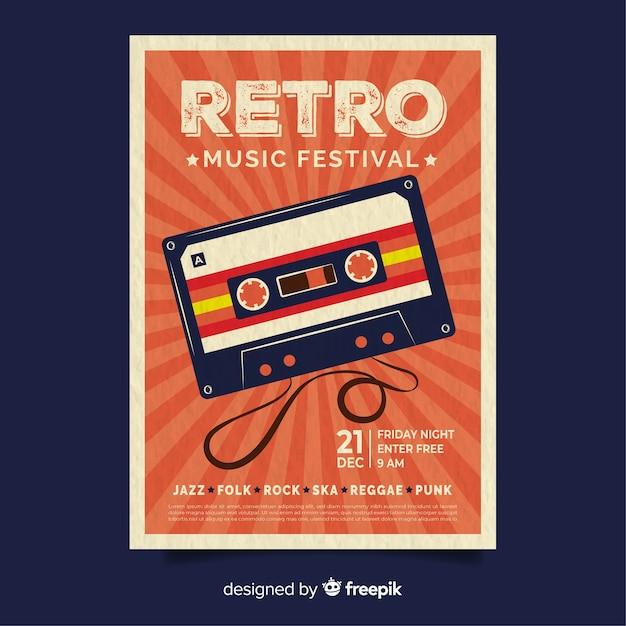 Szablon plakatu muzyki retro Darmowych Wektorów