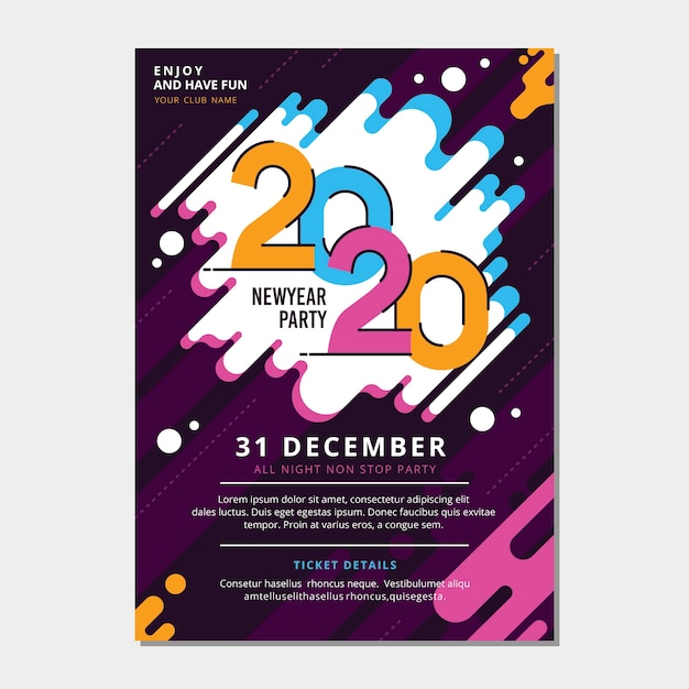 Szablon plakatu party nowy rok 2020 w płaskiej konstrukcji Darmowych Wektorów
