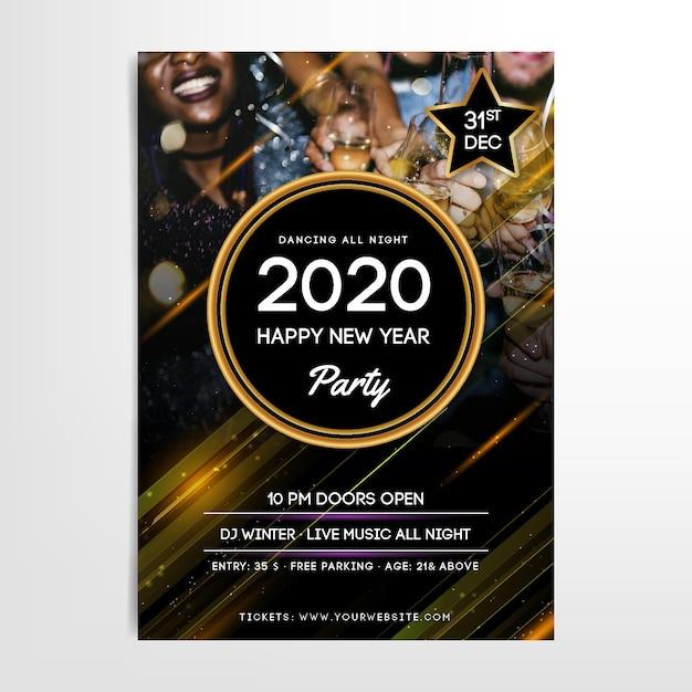 Szablon plakatu party nowy rok 2020 ze zdjęciem Darmowych Wektorów