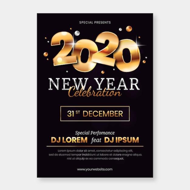 Szablon Plakatu Party Streszczenie Nowy Rok Darmowych Wektorów
