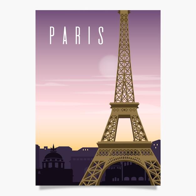 Szablon plakatu promocyjnego w paryżu Darmowych Wektorów
