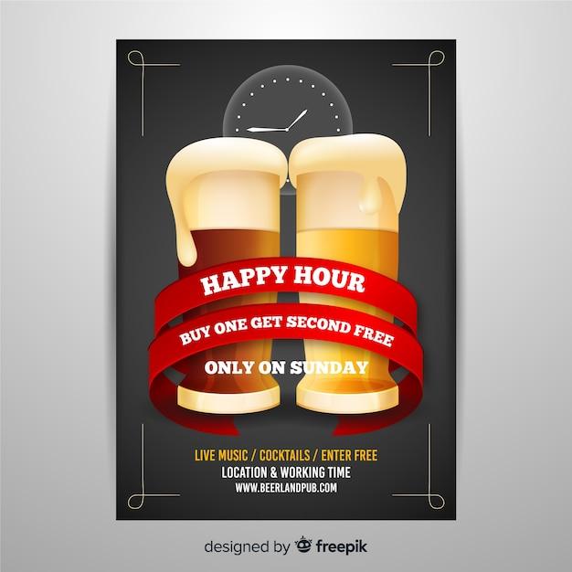 Szablon plakatu realistyczne happy hour Darmowych Wektorów