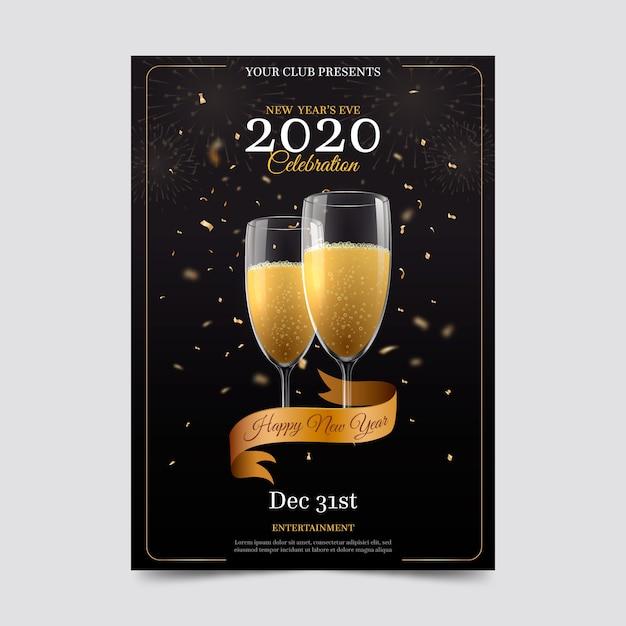 Szablon Plakatu Realistyczne Nowy Rok Party Darmowych Wektorów