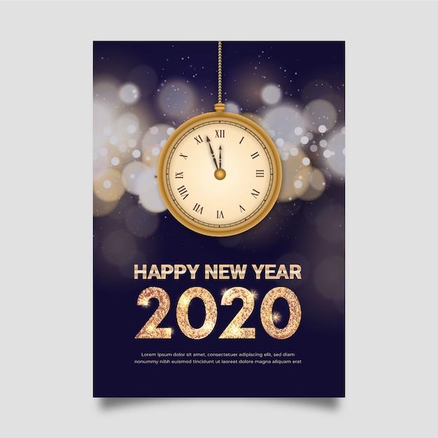 Szablon plakatu realistyczny nowy rok Darmowych Wektorów