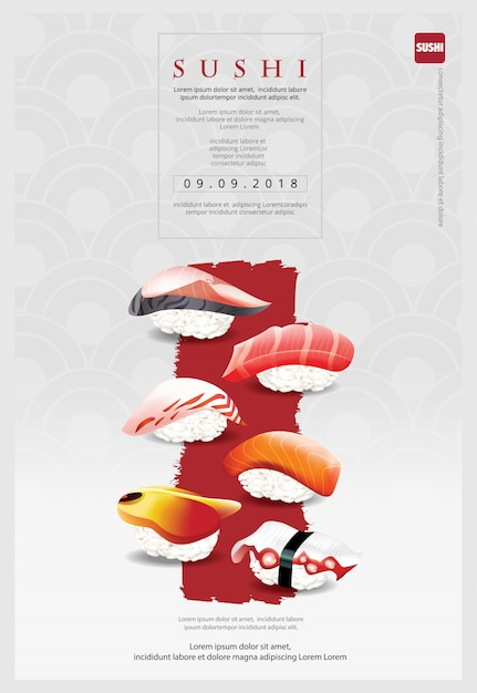 Szablon plakatu restauracji sushi Premium Wektorów
