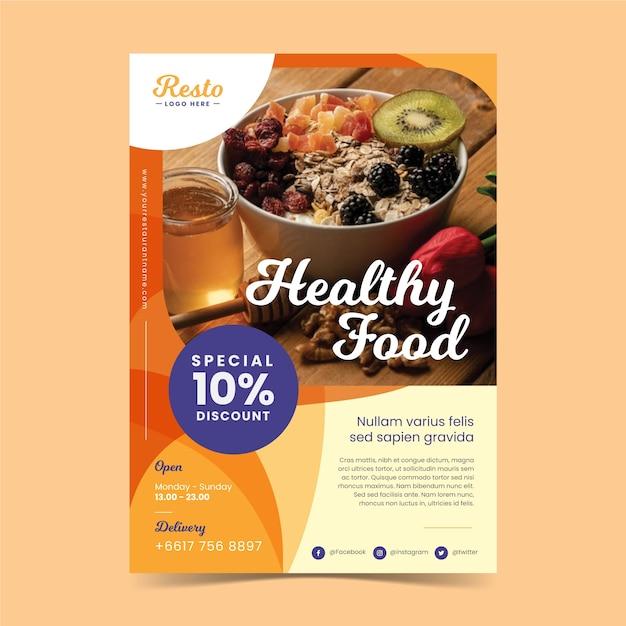 Szablon Plakatu Restauracji Zdrowej żywności Darmowych Wektorów