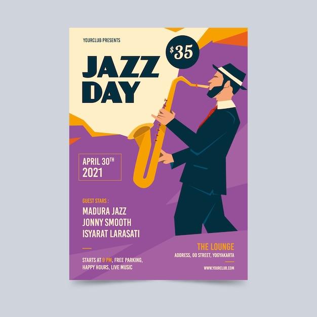 Szablon Plakatu Rocznika Międzynarodowy Dzień Jazzu Darmowych Wektorów