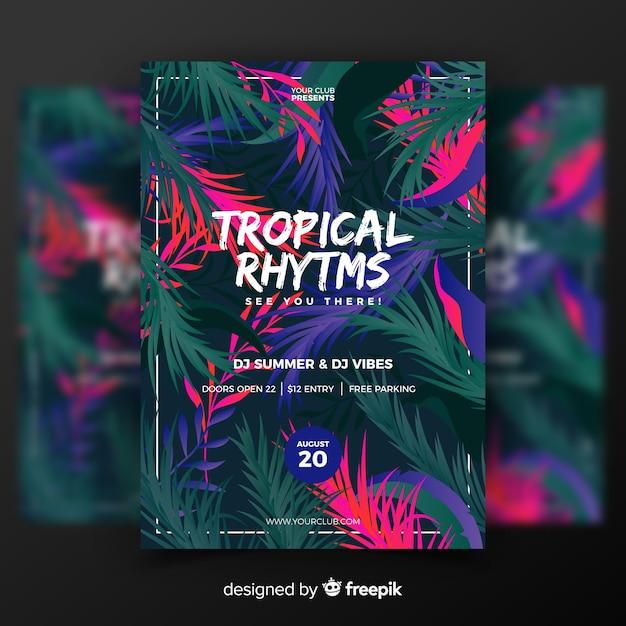 Szablon plakatu rocznika tropikalny festiwal muzyki Darmowych Wektorów