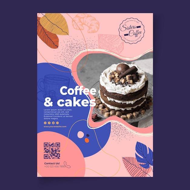 Szablon Plakatu Sklepu Z Kawą I Ciastami Darmowych Wektorów