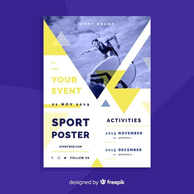 Szablon plakatu sportowego ze zdjęciem światłocienia Darmowych Wektorów