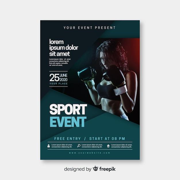 Szablon plakatu sportowego ze zdjęciem Darmowych Wektorów