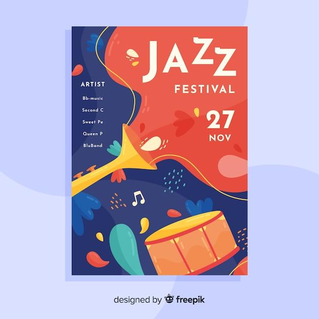 Szablon Plakatu Streszczenie Muzyki Jazzowej Darmowych Wektorów