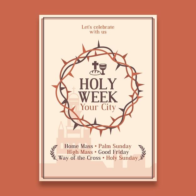 Szablon Plakatu świętego Tygodnia Darmowych Wektorów