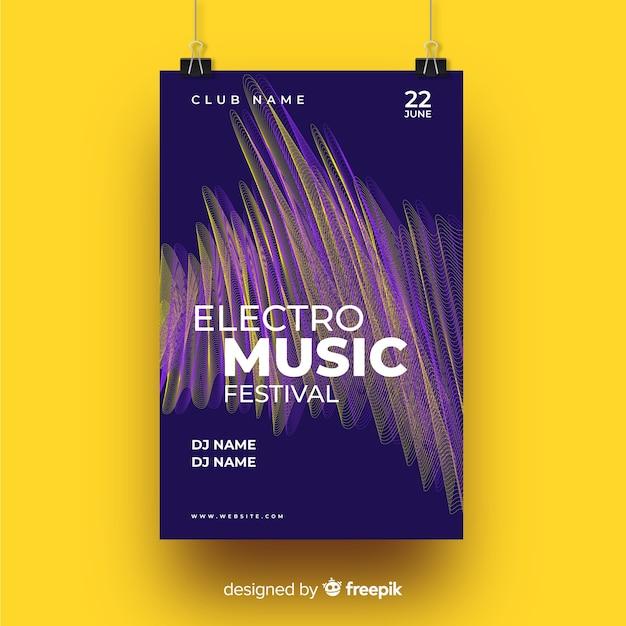 Szablon Plakatu W Stylu Muzyki Elektronicznej Darmowych Wektorów