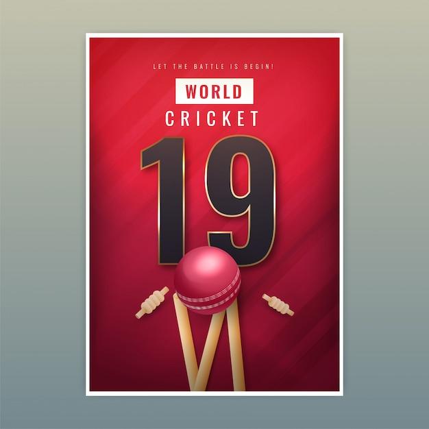 Szablon plakatu world cricket 19 Premium Wektorów