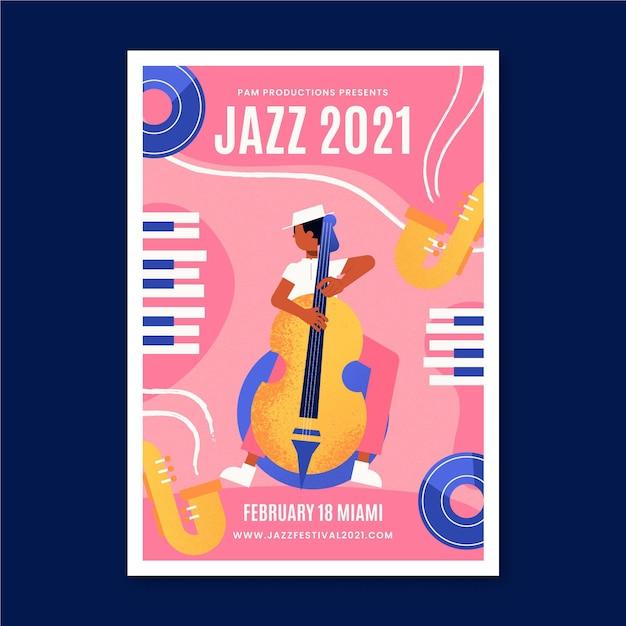 Szablon Plakatu Wydarzenie Muzyczne Ilustrowane Jazzem Darmowych Wektorów