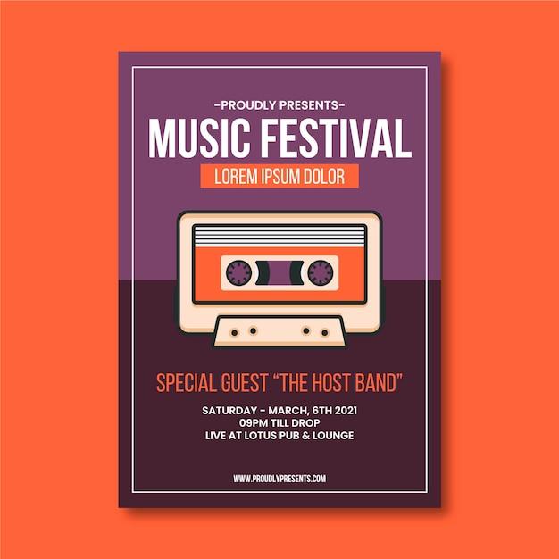 Szablon Plakatu Wydarzenie Muzyczne Kaseta Magnetofonowa Premium Wektorów