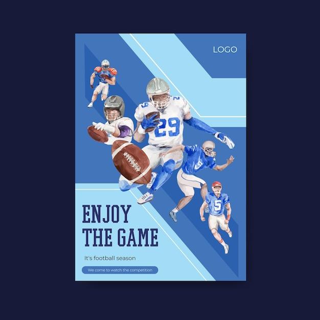 Szablon Plakatu Z Koncepcją Sportową Super Bowl Dla Broszury I Reklamowania Ilustracji Wektorowych Akwarela. Darmowych Wektorów