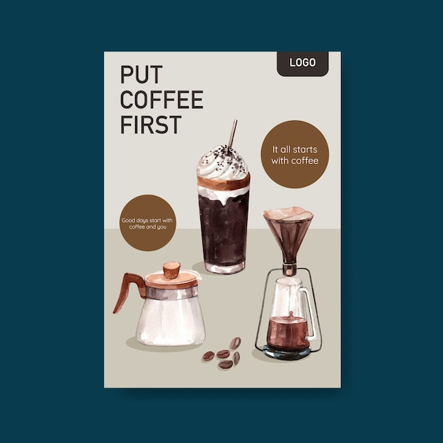 Szablon Plakatu Z Międzynarodowym Projektem Koncepcyjnym Dnia Kawy Dla Ulotki I Marketingowej Akwareli Darmowych Wektorów
