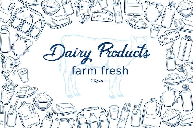 Szablon Plakatu Z Ręcznie Rysowane Produkty Mleczne Dla Menu Rynku Rolników Premium Wektorów