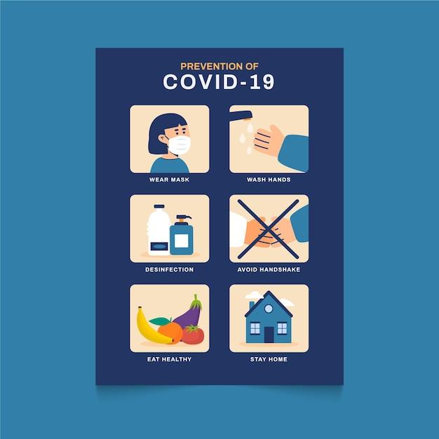 Szablon Plakatu Zapobiegania Koronawirusowi Darmowych Wektorów