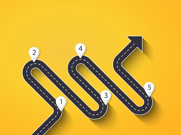 Szablon plansza lokalizacji drogi sposób o strukturze etapowej Premium Wektorów